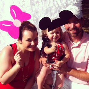 My sister, niece, and brother-in-law at the cutest Minnie Mouse birthday party ever